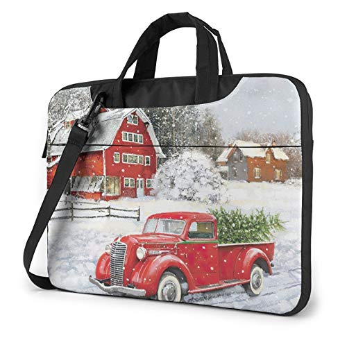 XIAONI Merry Christmas Red Truck Laptop Shoulder Bag Compatible with 13-15.6 Inch MacBook Pro,MacBook Air,Notebook Computer,Removable Shoulder Strap Waterproof Carrying Briefcase Sleeve for Men Women
