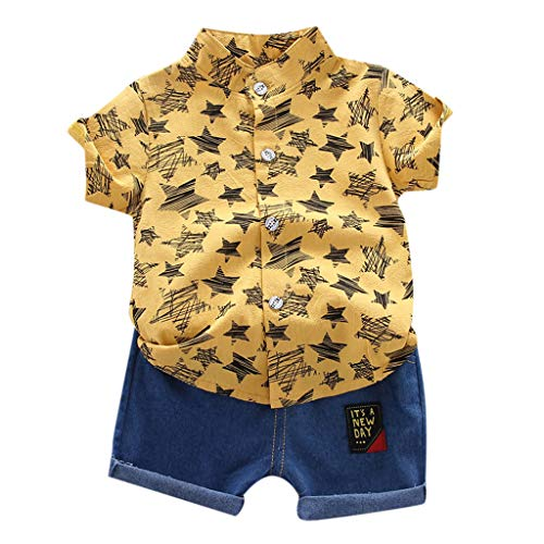 Conjuntos para Bebés Niños Verano Recién Nacidos Bautizo PAOLIAN Camisetas o Blusas de Niños Bebes Manga Corta y Pantalone Cortos Ropa para Niños Bebes Vestir Casual 6 Meses-3 Años