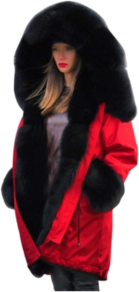 iCODOD Women Winter Warm Thicker Coat Long Sleeve Jacket Solid Color Hoodie Sweaters Faux Fur Collar Long Overcoat