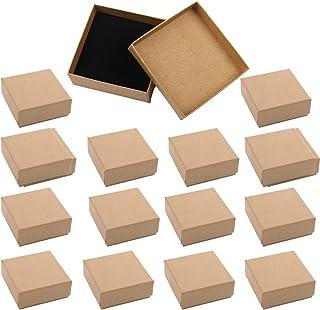ANAMO ギフトボックス アクセサリー ジュエリー 収納 正方形 7×7×2.5cm 無地 クラフト紙 16個セット