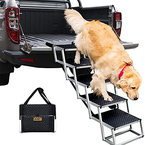 COLORFEY Klappbar Hundeautorampe Hunderampe für große Hunde Aluminium-Teleskop Hundetreppe für Haustiere, rutschfest, bis 80 kg, 5 Schritte Hunde-Treppe für Höhe 75-89cm
