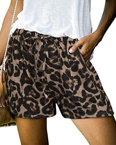 GOOTUCH Women Summer Casual Shorts Elastic Drawstring Waist Shorts Fashion Comfy Leopard Beach Short Pants with Pockets(Leopard 3,L)