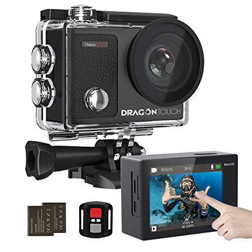 Dragon Touch 4K Action Camera Touch Screen 16MP Vision 3 Pro 100 feet Waterproof Camera Adjustable View Angle WiFi Sports Camera with Remote Control and Helmet Accessories Kit