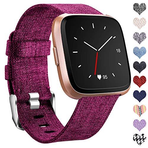 Ouwegaga Kompatibel mit Fitbit Versa Armband/Fitbit Versa 2 Armband, Woven Ersetzerband Verstellbares Zubehör Uhrenarmband Kompatibel mit Fitbit Versa/Versa Lite, Große Fuchsie