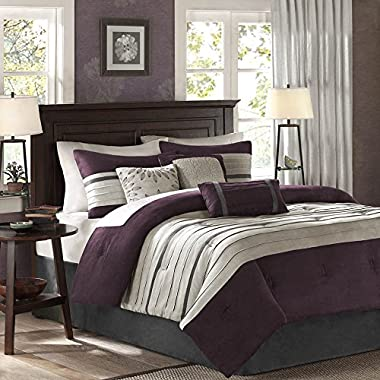 Madison Park Palmer 7 Piece Comforter Set - Plum - Queen - Pieced Microsuede - Includes 1 Comforter, 3 Decorative Pillows, 1 Bed Skirt, 2 Shams