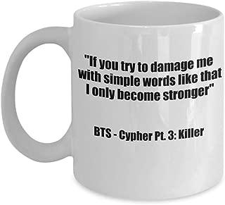 BTS Merch – Cypher Pt 3.: Killer Lyrics - Bangtan Boys Coffee Mug – BTS Merchandise For Girls Kim Namjoon Taehyung Min Yoongi Park Jimin Jung Hoseok Jungkook Seokjin