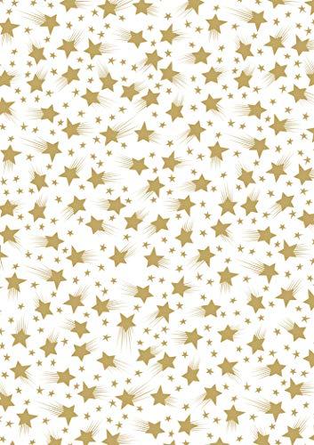 MarpaJansen Transparentpapier - Design-Transparentpapier - (DIN A4, 10 Bogen, 115 g/m²) - Sternenzauber weiß / gold