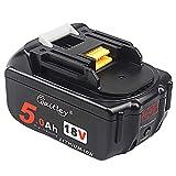 QUPER - Batterie di ricambio agli ioni di litio 18V 5.0Ah bl1850 (con display di alimentazione a LED) Compatibili con Makita DKP180Z, DTM51Z, DHS680Z, DTD152Z, DJV181Z, DGA452Z, DTD152Z LXT, DJR188Z.