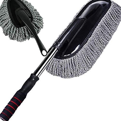 Jingyinyi Auto borstel auto huisstofmijt borstel, korte handgreep zachte wax borstel mop auto wasmiddel duurzaam Grijs