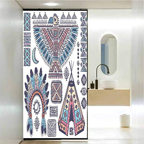 Pegatinas de vidrio de vidriera, diseño tribal tipi carpas símbolo de águila luna sol y pluma, baño oficina, sala de reuniones sala de estar, ventana, 23.6 x 78.7 pulgadas