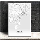 Ibiza España, Mapa de la ciudad moderna Mapa de la ciudad de viaje Lienzo Pintura Póster Impresiones Lienzo Imagen de pared para decoración de la habitación del hogar -50x70cmx1pcs -Sin marco