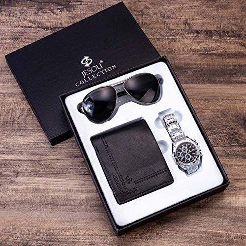 TCEPFS Reloj Set de Regalo Caja Carteras para Hombre Reloj Sungalsses Sets de Regalo Relojes de Acero para Hombre Top Brand Luxury Reloj de Pulsera de Cuarzo Regalos para HombresSet Negro 2