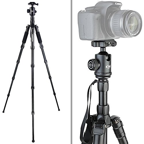 Kiwifos Professioneel camerastatief incl. kogelkop met panoramaplaat, snelwisselplaat, waterpas, draagtas, belastbaarheid 15 kg, werkhoogte van 38-160 cm en 5 segmenten