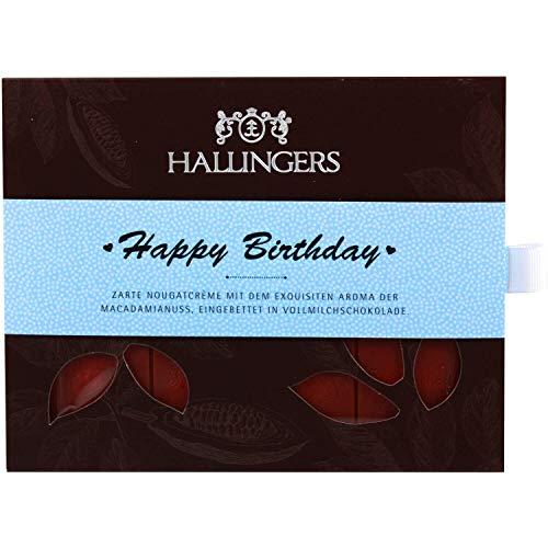 Hallingers Vollmilch-Schokolade mit Macadamia-Nougat hand-geschöpft (90g) - Happy Birthday Boy (Tafel-Karton) - zu Geburtstag & Glückwunsch