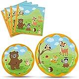 WERNNSAI Tovaglioli Piatti per Festa Animali Bosco - Vasellame Monouso Forniture per Feste Doccia Compleanno per Bambini per 16 Persone Stoviglie Piatti Cena da Dessert Tovaglioli da Pranzo