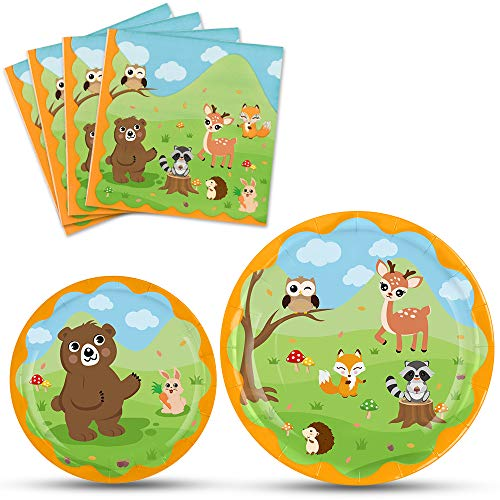 WERNNSAI Woodland Creatures Theme Party Plates and Napkins - Forest Animal Party Tableware Set Kids Birthday Baby Shower Party Supplies Dinner Dessert Plates Luncheon Napkins Serves 16 Guests 48PCS