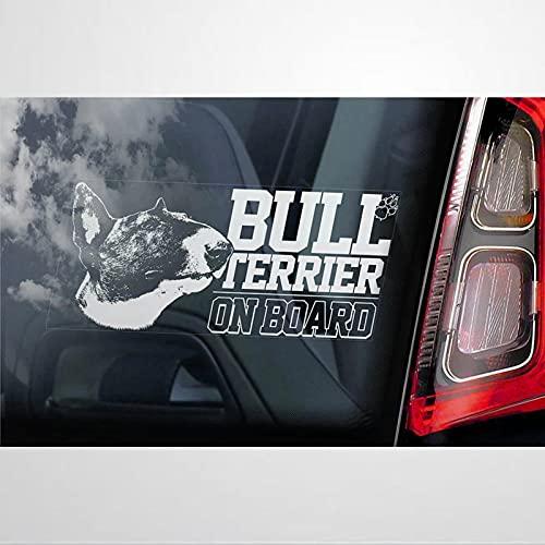 Bull Terrier a bordo calcomanía de vinilo para coche, decoración para ventana,...