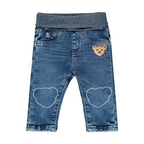 Steiff Baby-Jungen mit Teddybärmotiv Jeans, Blau (Blue Indigo 6050), 68 (Herstellergröße:068)