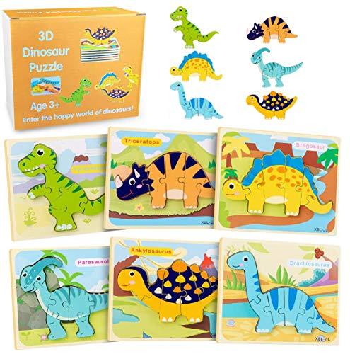 HahaGo Dinosaurio Rompecabezas De Madera 3D Puzzle Game Juego de 6 Rompecabezas Animal Dino - Juguete de Rompecabezas para niños Juguetes educativos de Aprendizaje temprano para niños y Bebés