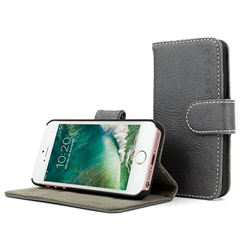 Snugg iPhone SE 1 (2016) Case, Leather Flip Case [Card Slots] Executive Apple iPhone SE Wallet Case Cover and Stand - Slate Grey