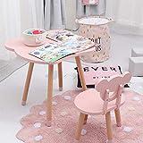 LYXCM Tabla niños y Juego de sillas, Mesa de Madera y Juego de sillas 2 Asientos niños Oso con 1 Tablas Oso Set Accesorios para Muebles,Rosado