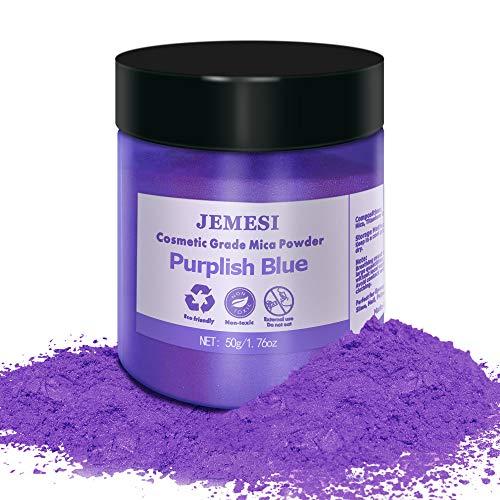 JEMESI Glimmerpulver Violett 50 Gramm / 1,76 Unzen Epoxidharz Farbe Metallic Farbstoff ungiftig | Ideal für Epoxid, Seife, Nagellack, Kosmetik und Badebomben