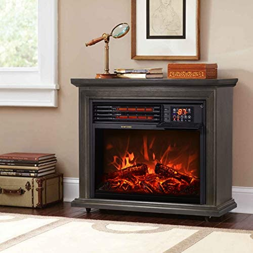 XtremepowerUS 1500W Infrared Quartz Electric Fireplace Heater Freestanding Timer with Remote product image
