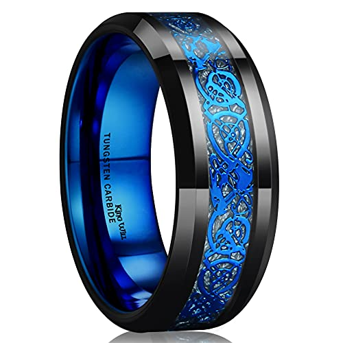 King Will Dragon Blue Celtic Tungsten Carbide/Tungsten Silicone Set Ring Mens Black Wedding Band Polished Comfort Fit (tungsten, 15)