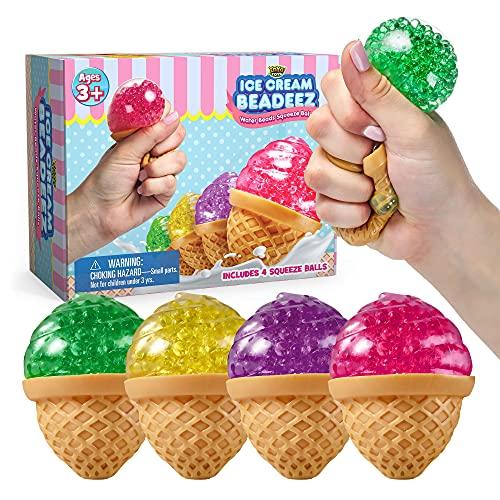 Beadeez Ice Cream Squeeze Stress Relief Balls | Gel Bead Filled Fidget Finger Sensory Toy For Kids &...