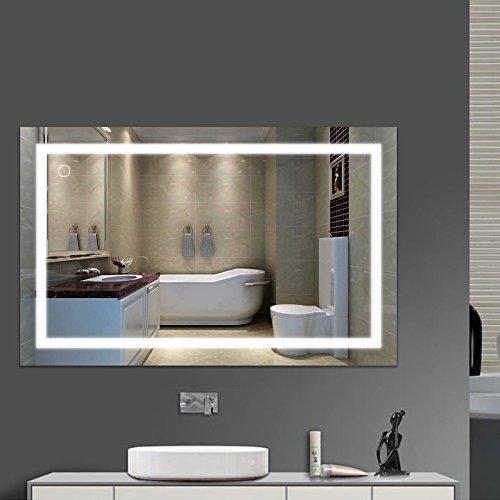 POPSPARK Espejo de baño 23W Espejo LED lámpara de Espejo 100* 60cm Espejo Luminoso sólido Vidrio Templado Blanco frío 6000K