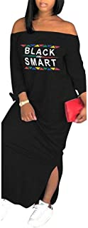 Women Off The Letter Print Sleeve Slit Side Loose T Shirt Maxi Dress