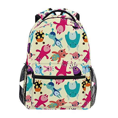Overlooked Shop Laptop Backpack, Monsters Pattern Computer Bag Book Bag Travel Hiking Camping Daypack
