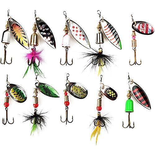 Plhzh 10 Piezas Kit Cebo Pesca,Accesorios Cebo Pesca, Cebo Artificial con Anzuelo, Accesorios De Pesca, Caja De Cebo De Pesca, Accesorios con Anzuelo Triangular.