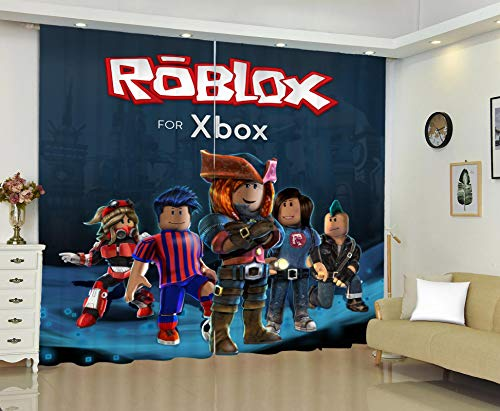 3D Roblox Cortinas Opacas de Habitacion y Salón Térmicas Aislantes Frío y Calor, Cortinas con Ojales en la Parte Superior 2 x 85(W) x 200(H) cm