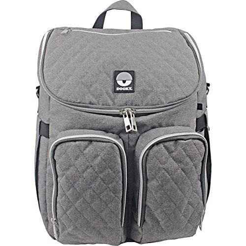 Dooky Wickeltasche 2 in 1 Universal Baby Kinderwagen Tasche Rucksack Kombination mit Reißverschluss (inkl. Wickelauflage/Wickelunterlage, 11 Fächer, verstellbare Riemen), Grau Melange