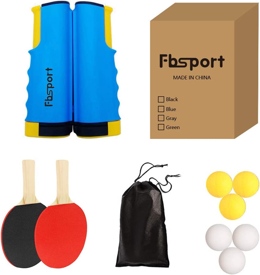 2 Bats Table Tennis Sets Professional Ping Pong Racket Paddle Set with Carry Bag 6 Balls and extendable ping-pong nets FBSPORT ping pong set for Kids Adults 2 Player Set