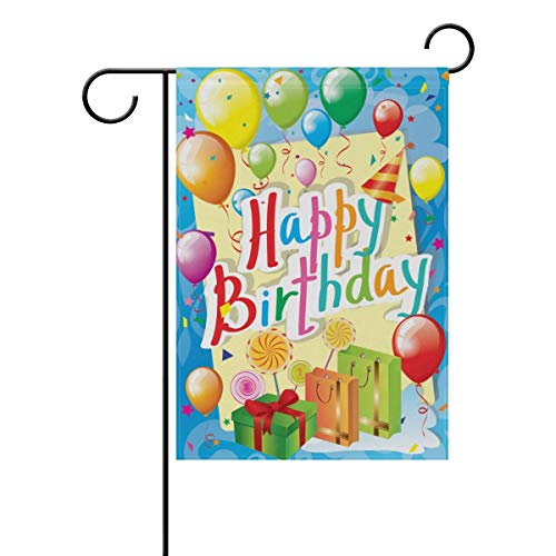 Nijio Happy Birthday Colorful Balloons Rainbow Garden Yard Flag Banner for Outside House Flower Pot Double Side Print 40 x 28 Inch