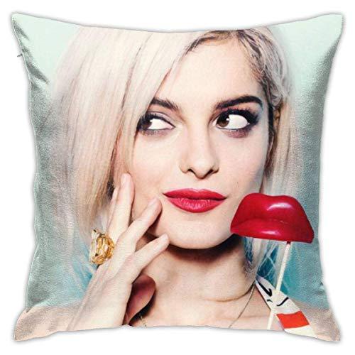 VinMea Funda de almohada cuadrada de moda con imagen de Bebe Rexha, funda de cojín decorativa para vacaciones, regalo de cumpleaños, 45,7 x 45,7 cm