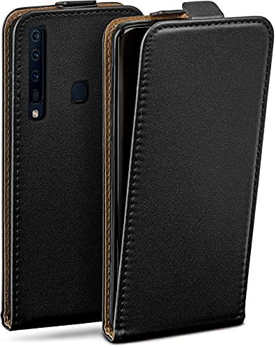 moex Flip Hülle für Samsung Galaxy A9 (2018) - Hülle klappbar, 360 Grad Klapphülle aus Vegan Leder, Handytasche mit vertikaler Klappe, magnetisch - Schwarz