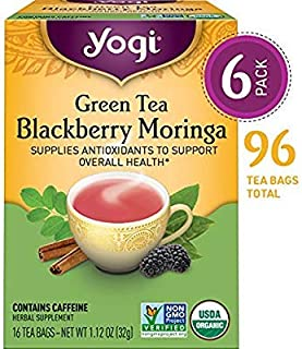 Yogi Tea - Green Tea Blackberry Moringa - Supplies Antioxidants - 6 Pack, 96 Tea Bags Total