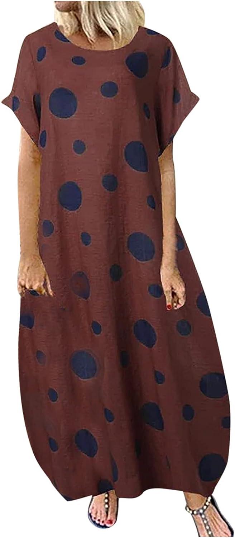 Women Dot Print Loose O Neck Short Sleeve Dress Long Skirt Casual Fashion Ankle-Length Dress