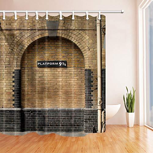 mintlmk Platform 9 en 3/4 bij King's Cross Station London Brown Wall Vintage douchegordijn Waterdichte Badkamer Decoraties Badgordijnen Haken Inbegrepen 71X71 inch