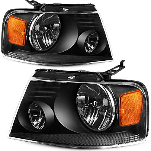 OEDRO Headlight Assemblies Compatible with 2004-2008 F150 Pickup, Amber Reflectors and Clear Lens, Black Housing (Driver & Passenger Side)