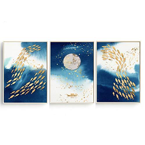 ZMFBHFBH Leinwand Kunstdruck Abstrakte Malerei Boot Ozean Fisch Meer Mond Poster Nordic 3 Panels Wandbilder für Wohnzimmer Home 60x80cm (23,6