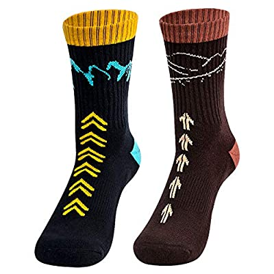 """Time May Tell Mens Hiking Socks Moisture Wicking Cushion Crew Socks for Terkking,Outdoor Sports,Performance 2 pack (Black,Brown 9.5""""-12.5"""")"""