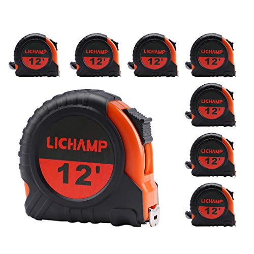 LICHAMP Tape Measure 12 ft, 8 Pack Bulk Easy Read Measuring Tape Retractable with Fractions 1/8, Measurement Tape 12-Foot by 1/2-Inch