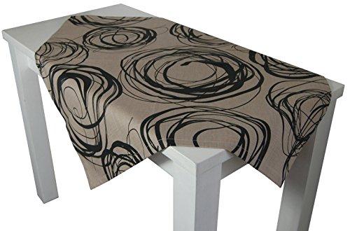 """beties """"Mystik"""" Mitteldecke ca. 80x80 cm Tischdecke in interessanter Größenauswahl hochwertig & angenehm 100% Baumwolle Farbe Toffee-Schwarz"""