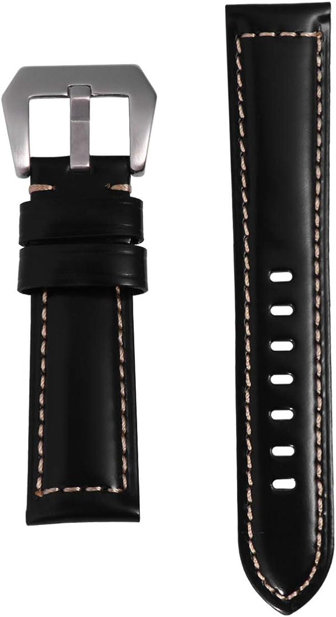 Hemobllo - Pulsera de piel para hombre, 22 mm, color negro y plateado