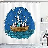ABAKUHAUS Igel Duschvorhang, Hasen Igel in Einem Boot, mit 12 Ringe Set Wasserdicht Stielvoll Modern Farbfest & Schimmel Resistent, 175x200 cm, Mehrfarbig