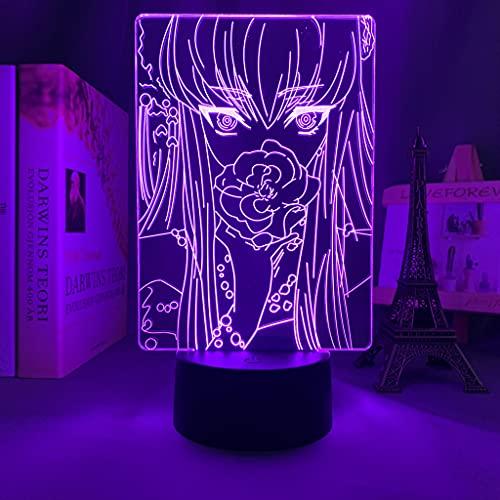 HSHHJSH Lámpara 3D para Dormitorio Decoración Nightlight Regalo de cumpleaños Manga CO-DE GE-A-SS LED Luz de Noche Luz de Noche (Color : 7 Colors no Remote)